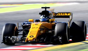Renault Sport F1 Team's German driver Nico Hulkenberg drives at the Circuit de Catalunya on March 1, 2017 in Montmelo on the outskirts of Barcelona during the third day of the first week of tests for the Formula One Grand Prix season. / AFP PHOTO / JOSE JORDAN