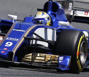 Sauber driver Marcus Ericsson of Sweden steers his car during the qualifying session for the Spanish Formula One Grand Prix at the Barcelona Catalunya racetrack in Montmelo, Spain, Saturday, May 13, 2017. The Spanish Formula One Grand Prix will take place on Sunday. (AP Photo/Manu Fernandez)