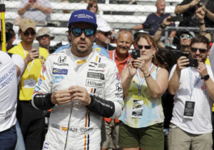 Fernando Alonso, of Spain, waits in his pit during a practice session for the Indianapolis 500 IndyCar auto race at Indianapolis Motor Speedway, Friday, May 19, 2017 in Indianapolis. (AP Photo/Darron Cummings)