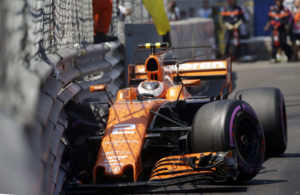 McLaren driver Stoffel Vandoorne of Belgium crashes into the fence during the qualification at the Formula One Grand Prix at the Monaco racetrack in Monaco, Saturday, May 27, 2017. The Formula 1 Grand Prix of Monaco race will take place on Sunday May 28. (AP Photo/Claude Paris)