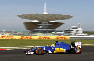 Sauber driver Marcus Ericsson of Sweden steers his car during the first practice session for the Malaysian Formula One Grand Prix at the Sepang International Circuit in Sepang, Malaysia, Friday, Sept. 30, 2016. (AP Photo/Joshua Paul)