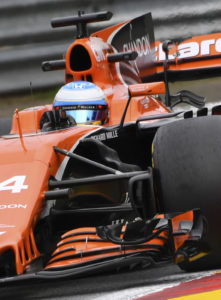 Mclaren driver Fernando Alonso of Spain steers his car during the second practice session ahead of the Belgian Formula One Grand Prix in Spa-Francorchamps, Belgium, Friday, Aug. 25, 2017. (AP Photo/Geert Vanden Wijngaert)