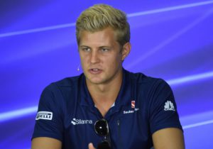 Sauber's Swedish driver Marcus Ericsson attends a press conference ahead of the Formula One Malaysia Grand Prix at the Sepang circuit near Kuala Lumpur on September 28, 2017. / AFP PHOTO / ROSLAN RAHMAN