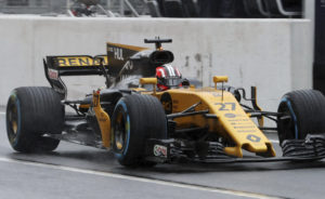 Renault driver Nico Hulkenberg of Germany steers his car during the second practice session for the Japanese Formula One Grand Prix at Suzuka, Japan, Friday, Oct. 6, 2017. (AP Photo/Eugene Hoshiko)