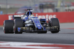 Sauber driver Marcus Ericsson, of Sweden, drives his car during the final practice session for the Formula One U.S. Grand Prix auto race at the Circuit of the Americas, Saturday, Oct. 21, 2017, in Austin, Texas. (AP Photo/Eric Gay)