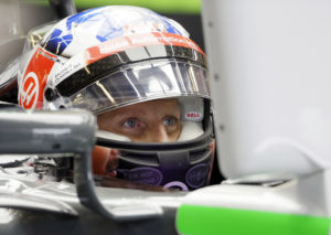 Haas driver Romain Grosjean, of France, sits in his car during the first practice session for the Formula One U.S. Grand Prix auto race at the Circuit of the Americas, Friday, Oct. 20, 2017, in Austin, Texas. (AP Photo/Tony Gutierrez)