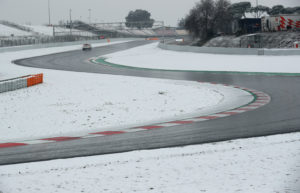 F1 Formula One - Formula One Test Session - Circuit de Barcelona-Catalunya, Montmelo, Spain - February 28, 2018 Race control check the track surrounded by snow before testing REUTERS/Albert Gea