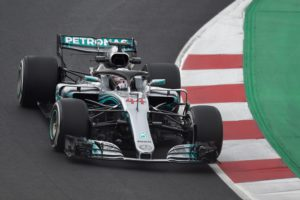 Mercedes' British driver Lewis Hamilton drives at the Circuit de Catalunya on February 26, 2018 in Montmelo on the outskirts of Barcelona during the first day of the first week of tests for the Formula One Grand Prix season. / AFP PHOTO / JOSE JORDAN