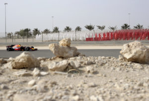 Red Bull driver Max Verstappen of the Netherlands steers his car during the third practice session for the Bahrain Formula One Grand Prix, at the Formula One Bahrain International Circuit in Sakhir, Bahrain, Saturday, April 15, 2017. The Bahrain Formula One Grand Prix will take place on Sunday. (AP Photo/Hassan Ammar)