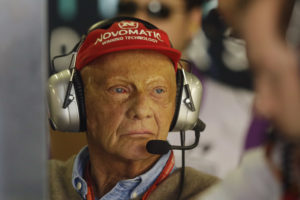 Former Austrian Formula One driver Niki Lauda stands in the Mercedes pit during the first free practice at the Interlagos race track in Sao Paulo, Brazil, Friday, Nov. 10, 2017. (AP Photo/Nelson Antoine)