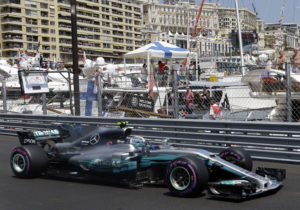 Mercedes driver Valtteri Bottas of Finland steers his car during the qualification at the Formula One Grand Prix at the Monaco racetrack in Monaco, Saturday, May 27, 2017. The Formula 1 Grand Prix of Monaco race will take place on Sunday May 28. (AP Photo/Claude Paris)