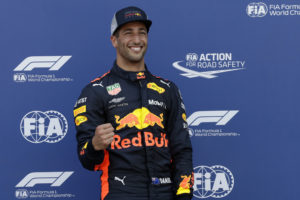 Pole position winner Red Bull driver Daniel Ricciardo of Australia celebrates at the end of the qualifying session for Sunday's Monaco Formula One Grand Prix at the Monaco racetrack, in Monaco, Saturday, May 26, 2018. (AP Photo/Claude Paris)