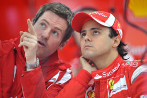 FILE PHOTO: Formula One - F1 - Korean Grand Prix 2011 - Korean International Circuit, Yeongam, South Korea - 14/10/11 Felipe Massa of Ferrari with his then Race Engineer Rob Smedley (L) Mandatory Credit: Action Images / Crispin Thruston/File Photo