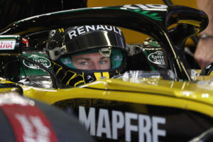 Renault driver Nico Hulkenberg, of Germany, sits in his car during the first training session of the Formula One Mexico Grand Prix auto race at the Hermanos Rodriguez racetrack in Mexico City, Friday, Oct. 26, 2018. (AP Photo/Moises Castillo)