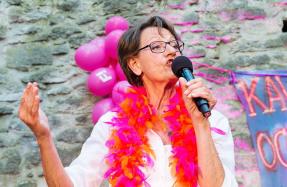 FI-ledaren Gudtrun Schyman i Almedalen. Foto: Anna Tärnhuvud.