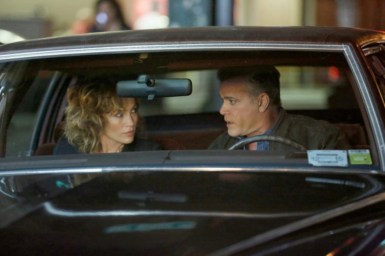 "SHADES OF BLUE -- ""Original Sin"" Episode 102 -- Pictured: (l-r)  Jennifer Lopez as Harlee Santos, Ray Liotta as Bill Wozniak -- (Photo by: Peter Kramer/NBC)"