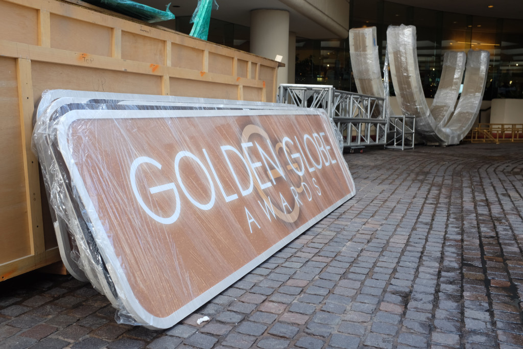 Preperations are underway for the Golden Globe Awards Show 2016 at the Beverly Hilton Hotel in Beverly Hills, CA. Photo: Magnus Sundholm