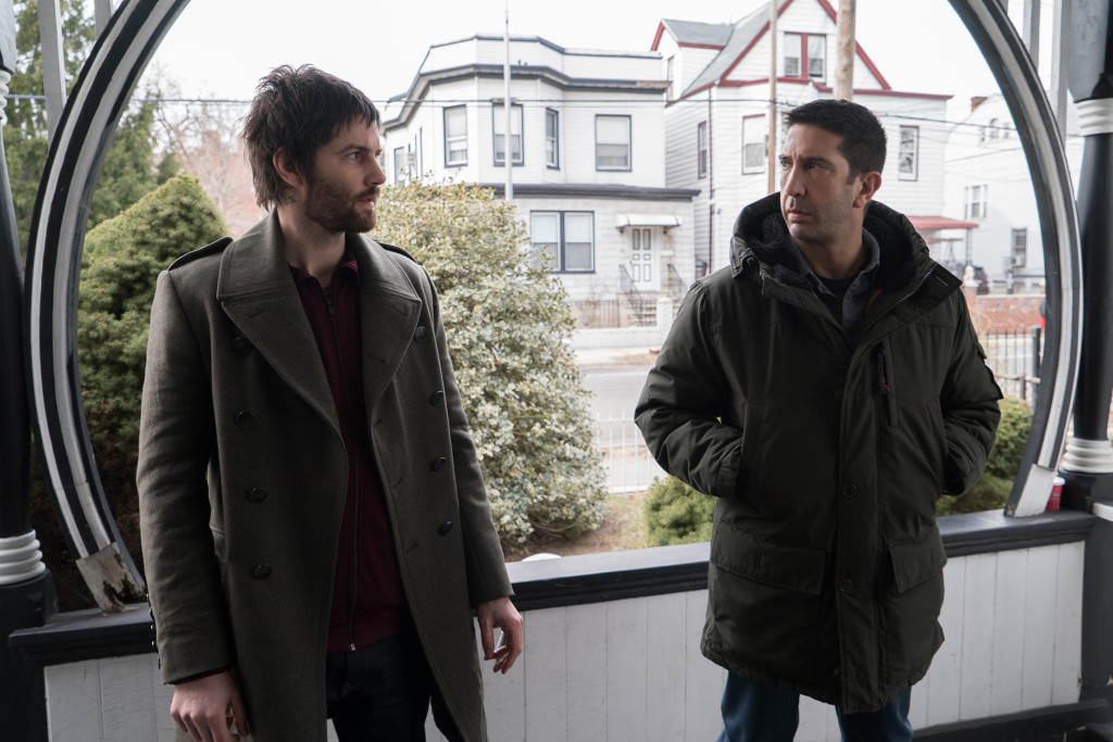Jim Sturgess as Dion Patras and David Schwimmer as Tommy Moran in Feed the Beast Season 1. Photo credit: Ali Paige Goldstein/AMC