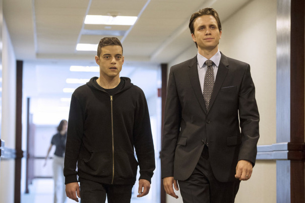 "MR. ROBOT -- ""3xp10its.wmv"" Episode 105 -- Pictured: (l-r) Rami Malek as Elliot Alderson, Martin Wallstrom as Tyrell Wellick -- (Photo by: David Giesbrecht/USA Network)"