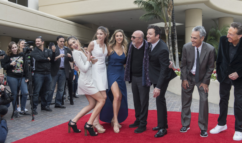 Sistine, Scarlet and Shophia Stallone, with HFPA President Lorenzo Soria, Jimmy Fallon, Alan Shapiro and Barry Edelman, at the rollout of the red carpet for the upcoming 74th Annual Golden Globe Awards at the Beverly Hilton Hotel in Beverly Hills, CA. Photo: Magnus Sundholm