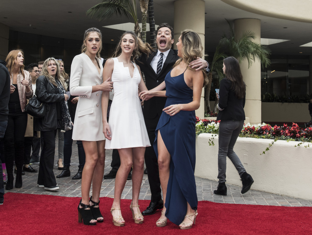 Sistine, Scarlet and Shophia Stallone with Jimmy Fallon at the rollout of the red carpet for the upcoming 74th Annual Golden Globe Awards. Photo: Magnus Sundholm