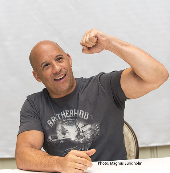 Vin Diesel, who stars in 'The Fate of the Furious', at the Four Seasons Hotel in Beverly Hills, CA. Photo: Magnus Sundholm