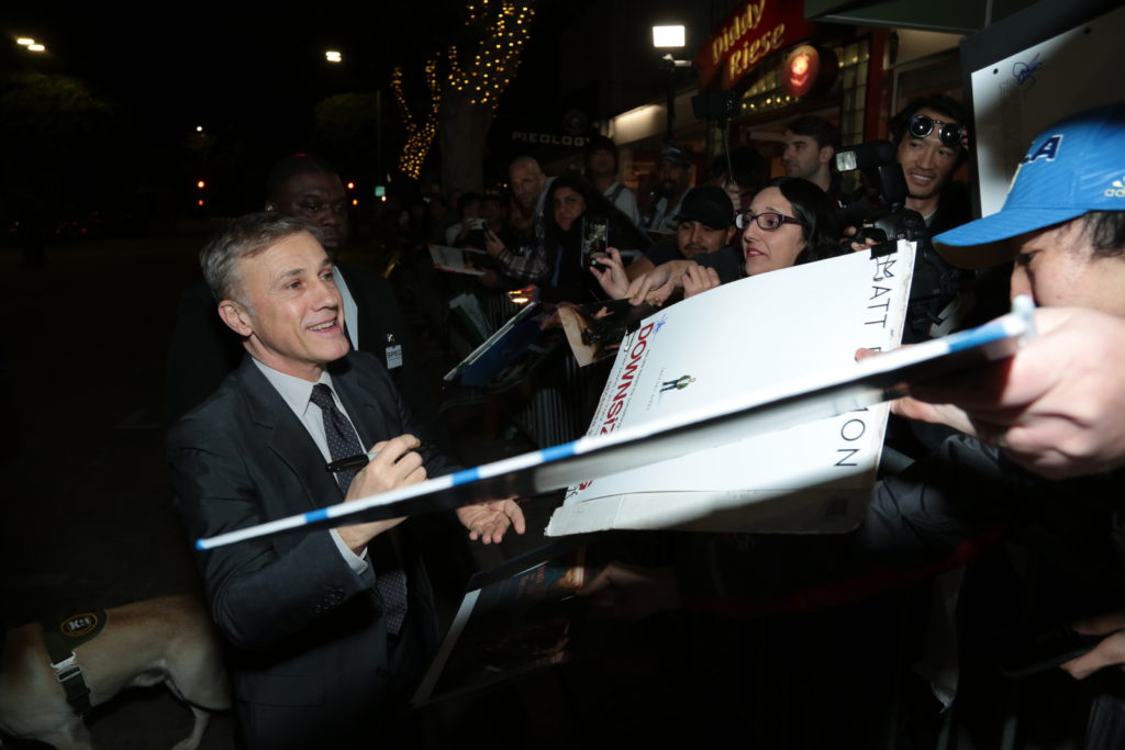 "Christoph Waltz signs autographs for fans as Paramount Pictures presents a special screening of ""Downsizing"" in Los Angeles, CA at the Regency Village Theater in Los Angeles, CA on Monday, December 18, 2017..(Photo: Alex J. Berliner/ABImages)"
