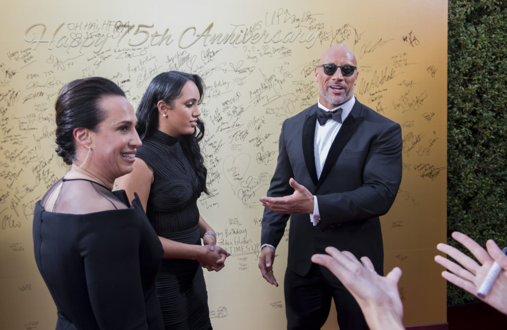 Dwayne Johnson, daughter Simone and ex-wife Dany at the 75th Golden Globe Awards in Beverly Hills, CA. 01-07-2018 Photo: Magnus Sundholm
