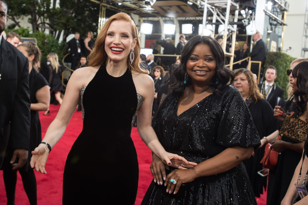 "Nominated for BEST PERFORMANCE BY AN ACTRESS IN A MOTION PICTURE – DRAMA for her role in ""Molly's Game,"" actress Jessica Chastain and nominated for BEST PERFORMANCE BY AN ACTRESS IN A SUPPORTING ROLE IN A MOTION PICTURE for her role in ""The Shape of Water,"" actress Octavia Spencer arrive at the 75th Annual Golden Globe Awards at the Beverly Hilton in Beverly Hills, CA on Sunday, January 7, 2018."