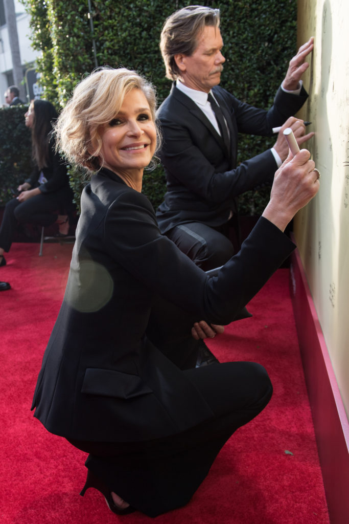"Kyra Sedgwick and Nominated for BEST PERFORMANCE BY AN ACTOR IN A TELEVISION SERIES – COMEDY OR MUSICAL for his role in ""I Love Dick,"" actor Kevin Bacon attends the 75th Annual Golden Globes Awards at the Beverly Hilton in Beverly Hills, CA on Sunday, January 7, 2018."