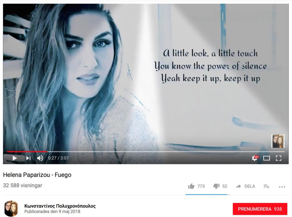 "Helena Paparizous version av ""Fuego"" läcktes till Youtube"