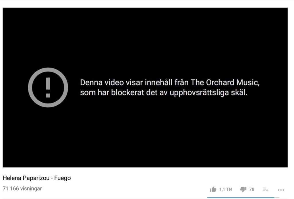 71 166 visningar hann Paparizous version av Cyperns vinnartippade låt få innan den blockerades på Youtube.