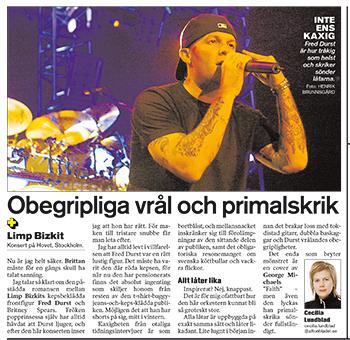 Aftonbladet den 10 mars 2004. Varför jag inte reccade denna konsert minns jag inte.