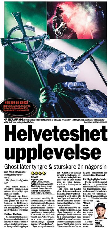 Recensionen av Ghosts Lundagig gick att ta del av i tisdagstidningen. I läsbar form hittar du den här.