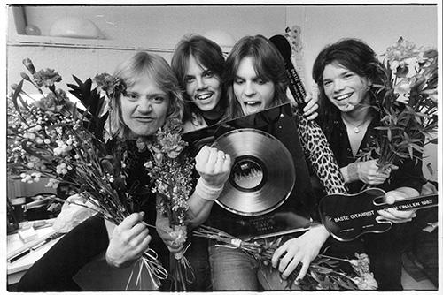Europe efter vinsten i Rock-SM i december 1982. Foto: Per Björn/Aftonbladets bildarkiv