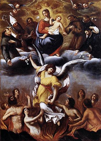 Den bibliska skärselden, så som skildrad av Ludovico Carracci 1612.