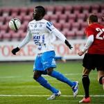 """Eskilstuna City besegrar Akropolis i division 1 norra med 2–0. """"Jag springer mycket och är nöjd med matchen"""", säger Lansana."""