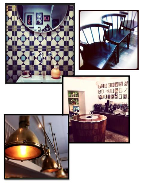 cafe, stockholm, inredning, kök, kakel, industrilampa