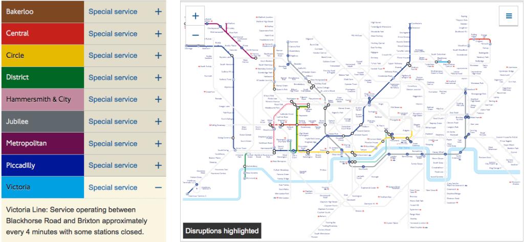 En skärmdump från tfl.gov.uk visar vilka linjer som är avstängda. Värst för landets ekonomi är kanske Jubilee Line som gör många businessmän försenade till jobbet under strejken. Kanske är det för att min Victoria Line inte transporterar några viktiga beslutsfattare som den tillåts köra nästan som vanligt.
