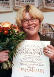 1998: Lena Mellin med Lukas Bonniers Stora journalistpris
