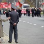 Röda oktobergatan var avstängd för all trafik under demonstrationen