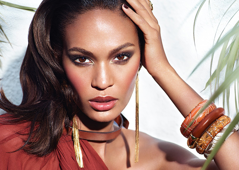 Estee-Lauder-Bronze-Goddess-Makeup-Collection-for-Summer-2014-promo-with-Joan-Smalls