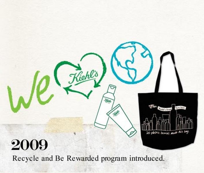 Kiehls har ett uttalat återvinningsprogram som reducerar slitaget på jordens resurser.