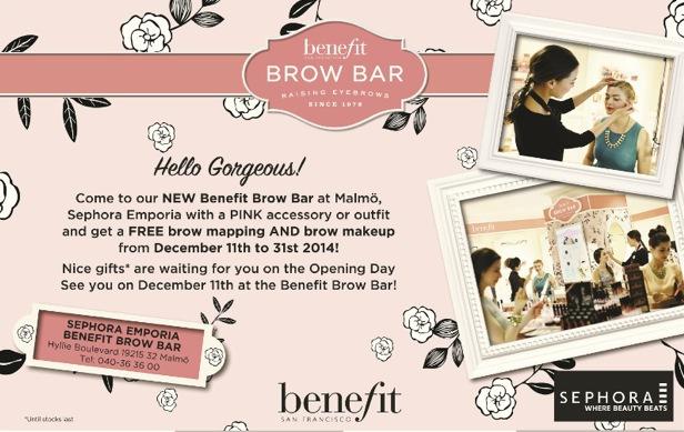 Benefit Browbar öppnar i morgon på Sephora i Emporiabutiken i Malmö