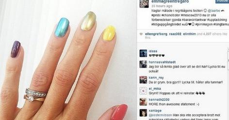 Emmas färgglada naglar under VM- i Ryssland 2013