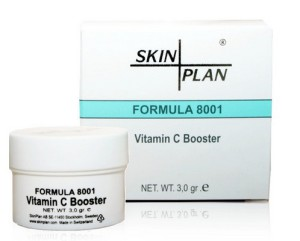 Svenska Skinplan har en c-vitaminprodukt i pulverform som du bblandar i din egen hudkräm innan du applicerar den på huden.
