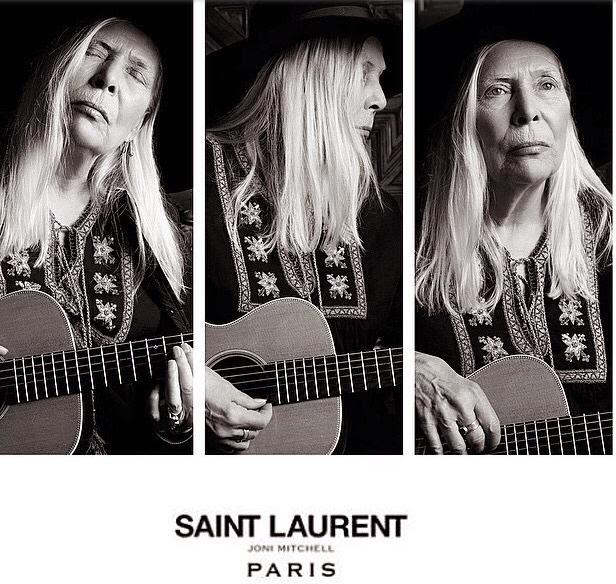 Joni Mitchell i Saint Laurents kampanj för en månad sedan
