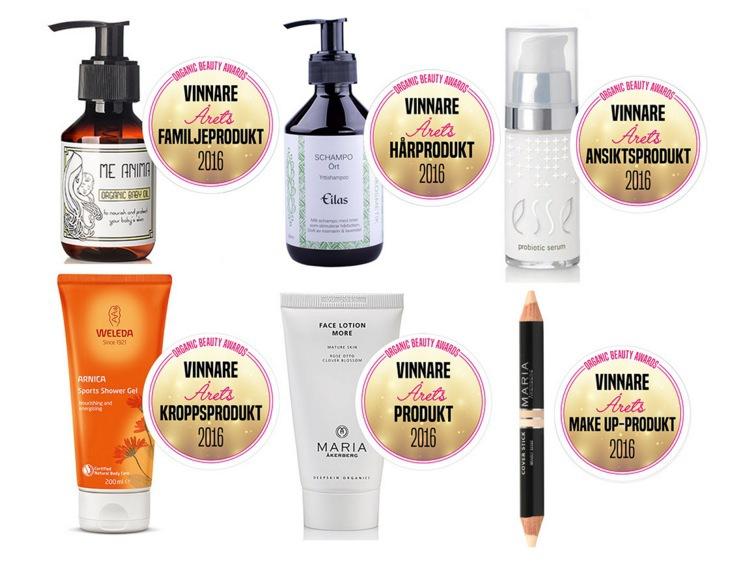 Alla vinnarna i Organic Beauty Awards 2016. Bild från sajten Naturligt Snygg