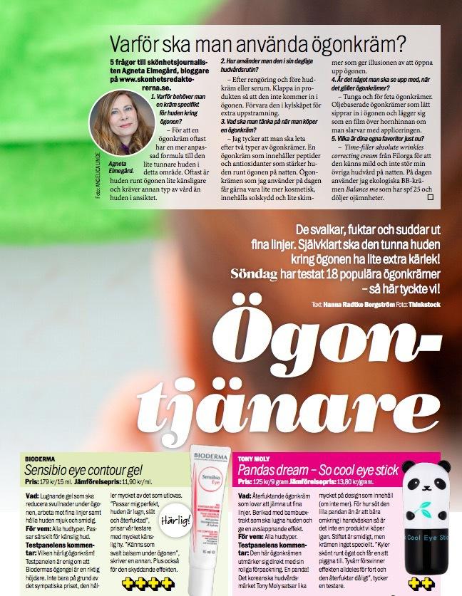 Stort ögonkrämstest i Aftonbladets Söndagsbilaga som ligger ute nu! Gjort av Hanna Radtke Bérgström och med mig som sakkunnig.
