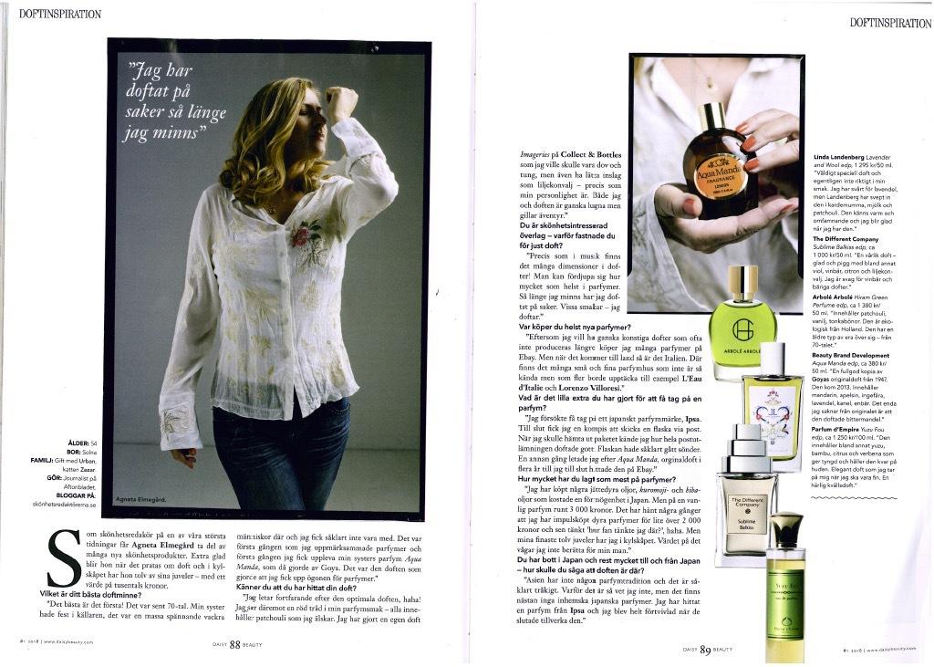 I senaste numret av Daisy Beauty är jag intervjuad om mitt parfymintresse av journalisten Veronica Henriksson